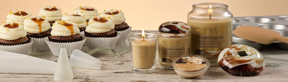 Heart & Home Caramel Cupcake geurkaarsenserie
