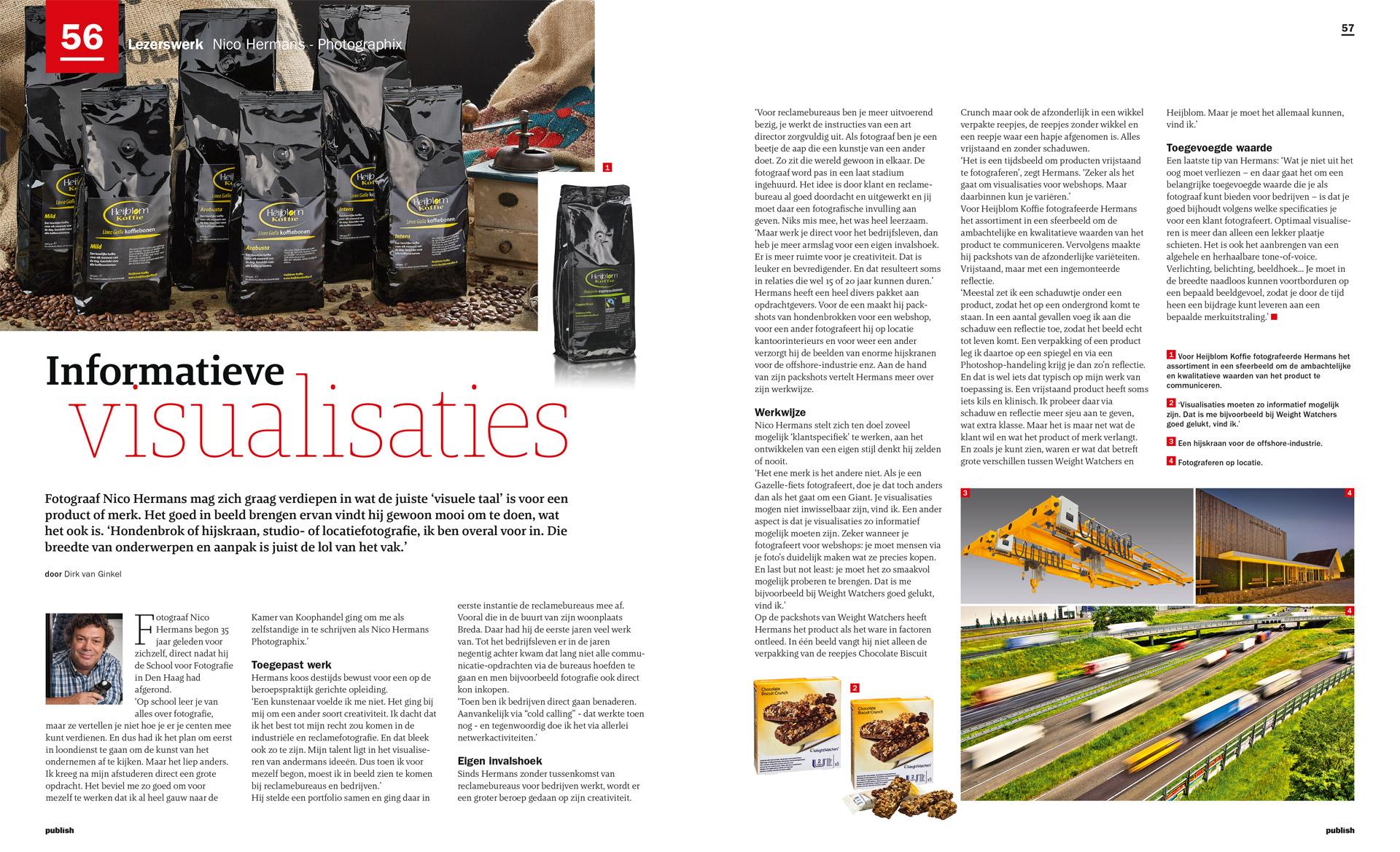 artikel in Publish over NICO HERMANS PhotoGraphix productfotograaf in Breda